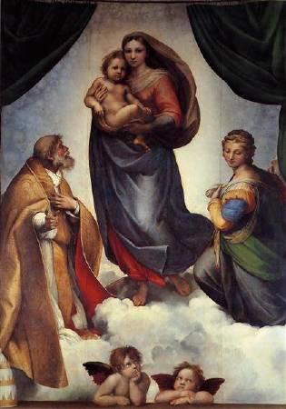 拉斐爾,《希斯汀聖母》(The Sistine Madonna),圖/取自wikiart。