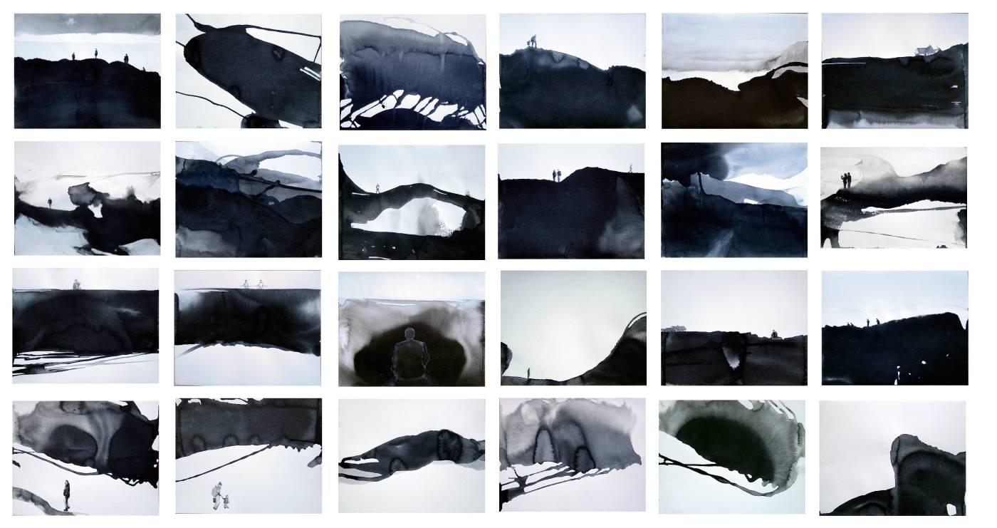 池農深 生活系列 Mendocino Series (一組24件) 紙上水墨 44x55cm (x24) 2012-2014