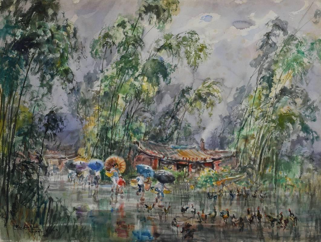 竹林微雨 58.3x76.2cm 1968 紙本水彩