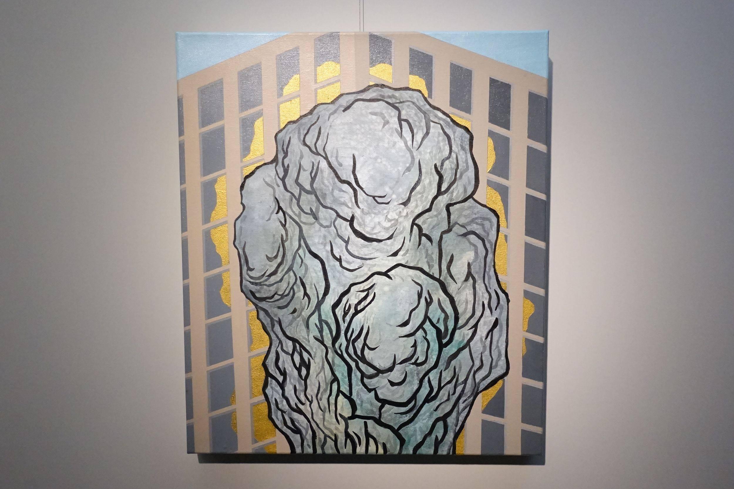 黃法誠,巨石,壓克力顏料.墨.水泥漆.畫布,2017年。