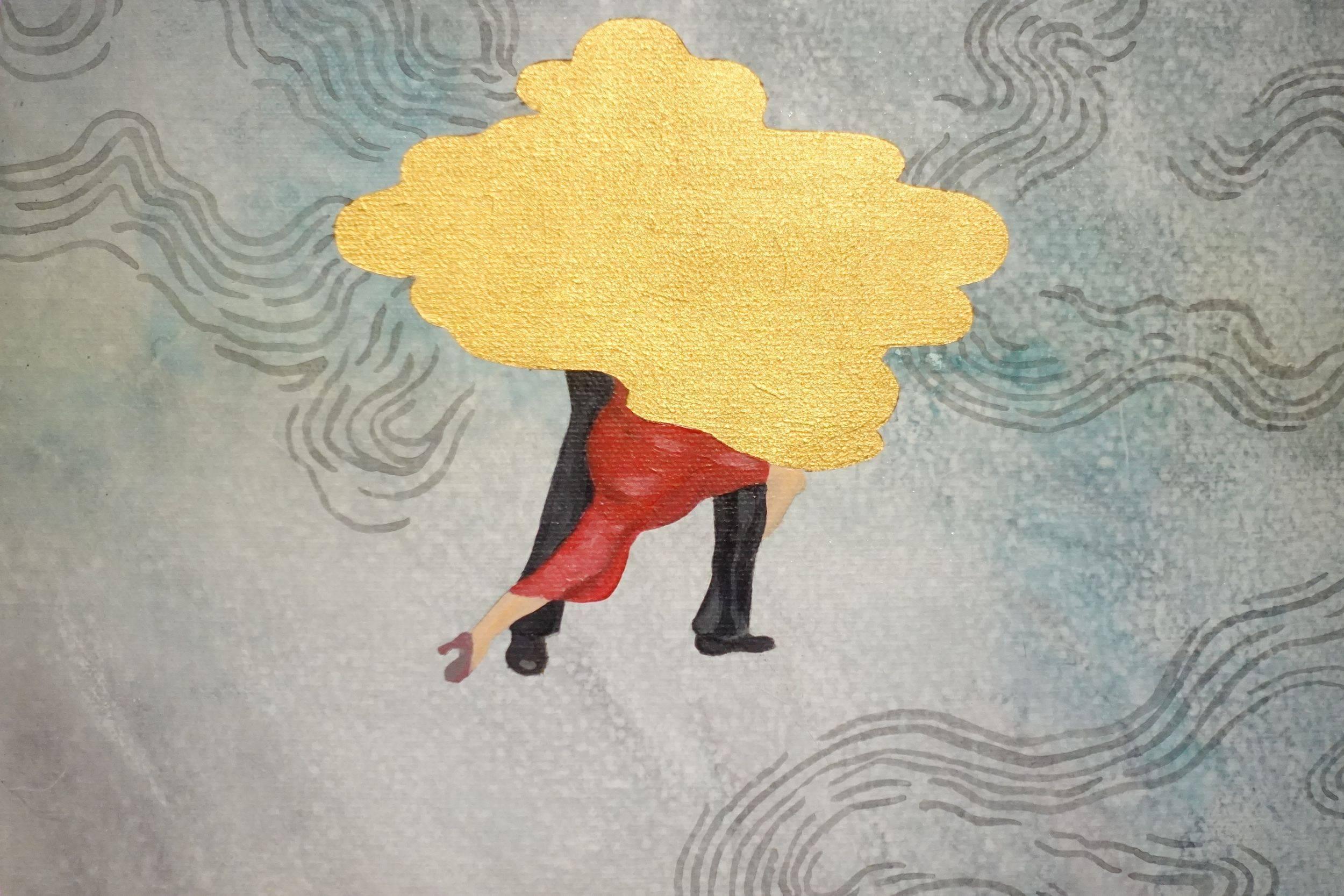 黃法誠,金色雲朵(局部),壓克力顏料.墨.畫布,2017年。