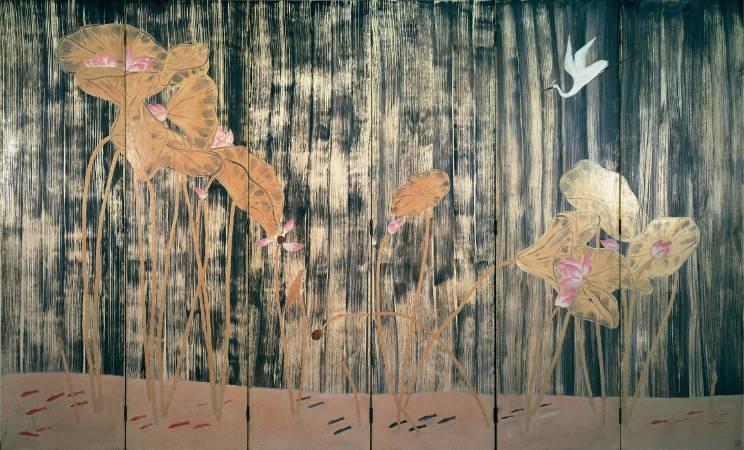 常玉《荷塘白鶴》  油彩‧木板  1940/50s  182x297 cm