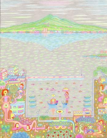 黃志超 漁人碼頭 2017 92.5×72.5cm 複合媒材 畫布