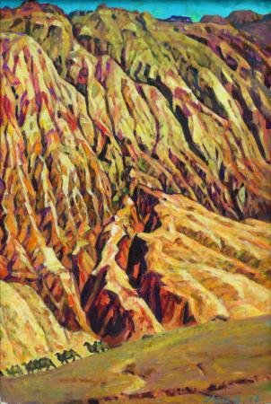 李全淼,大西北系列之火燄山,120x80cm,2016年。