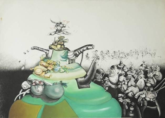 卡羅斯.劉.博拉榭_風的競選活動_水墨、水彩、薄紙板_105x75cm_1986