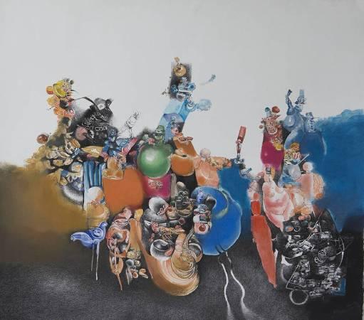 卡羅斯.劉.博拉榭_賣汽球的人_水墨、水彩、粉彩、薄紙板_112x99cm_2000