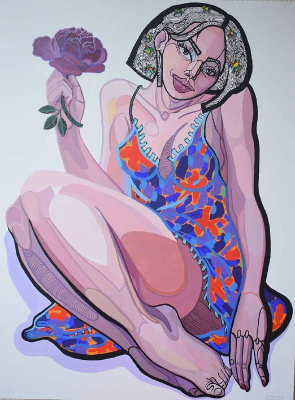 波蘭╱Zofia Pałucha (ZOZO)《Peonia》Acrylic on Canvas 60×80cm 2017