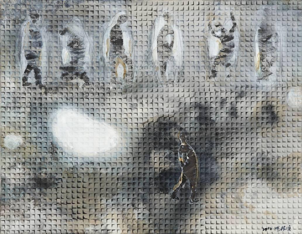 晨安, 116x91cm_墨、壓克力彩、紙、Gesso、畫布, 2010