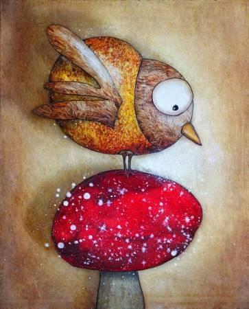 法國╱Jeremie Baldocchi《The bird and the magic mushroom》Acrylic on Canvas 33×41cm 2016
