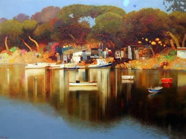 西班牙╱Pedro Roldán《Rojos y Amarillos, Isla Cristina, Huelva》Oil on Panel 100×75cm 2017