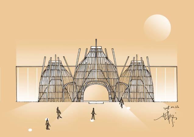 藝術家范承宗在當代館入口設置大型竹編裝置。圖/台北當代藝術館提供。