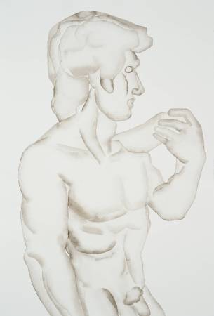 David, HU Zi 胡子, 2016. Gouache on paper 纸上水粉, 56.3 × 38 cm。圖/東畫廊提供。