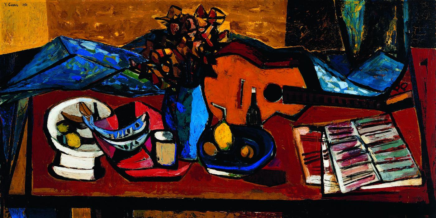 張義雄 有吉他的靜物 1960 油彩畫布 97×194cm