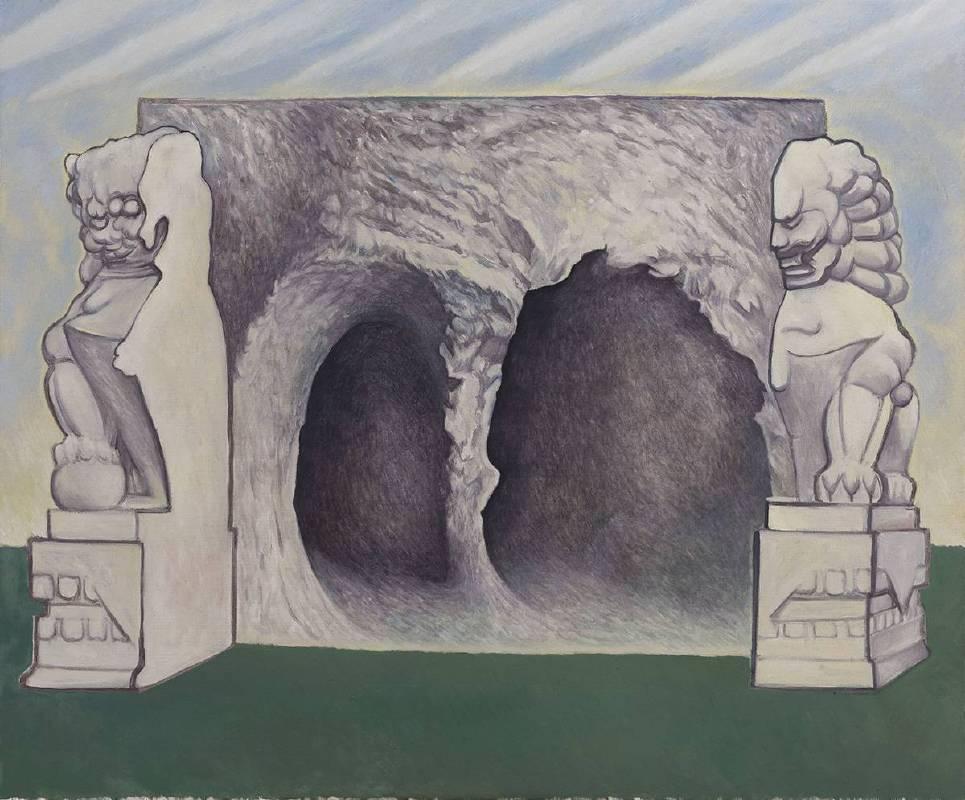 贺勋HeXun_石敢当-空洞Stone Pathway-Void Hole_2017_布面油画Oil on canvas_150x180cm(图片由艺术家与亚洲当代艺术空间提供Courtesy of artist and A+ Contemporary)