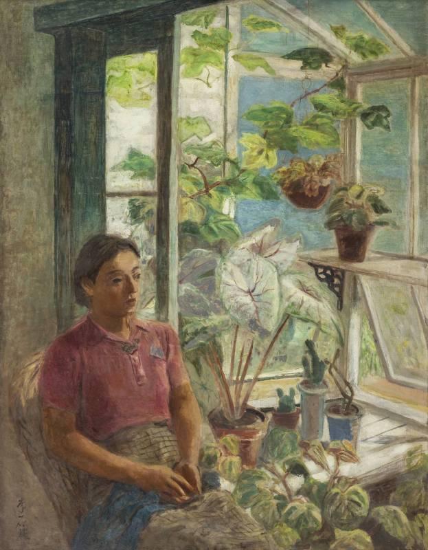 李石樵 溫室 1940 油彩畫布 145.5x112cm