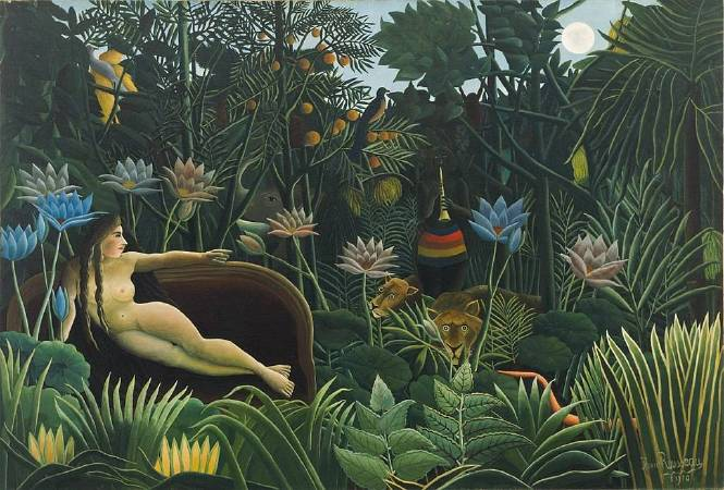 Henri Rousseau,《The Dream》,1910。圖/取自Wikimedia Commons。