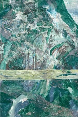 許聖泓《森林與湖上的光》,2018,壓克力顏料、畫布,150 x 100 cm