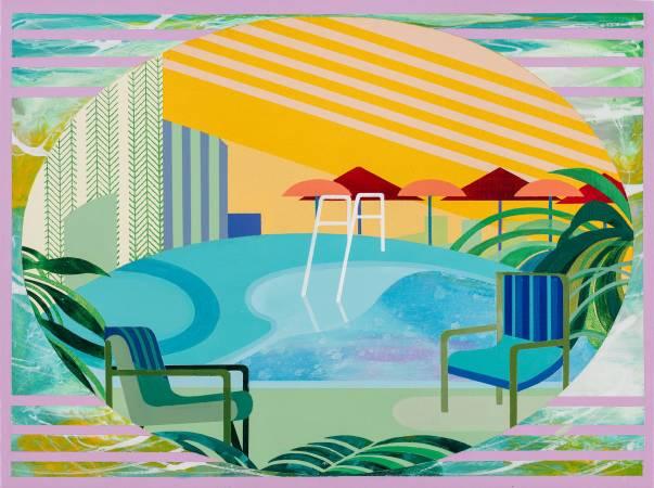 温孟瑜《盛夏來臨》,2018,壓克力顏料、畫布,40 x 30 cm