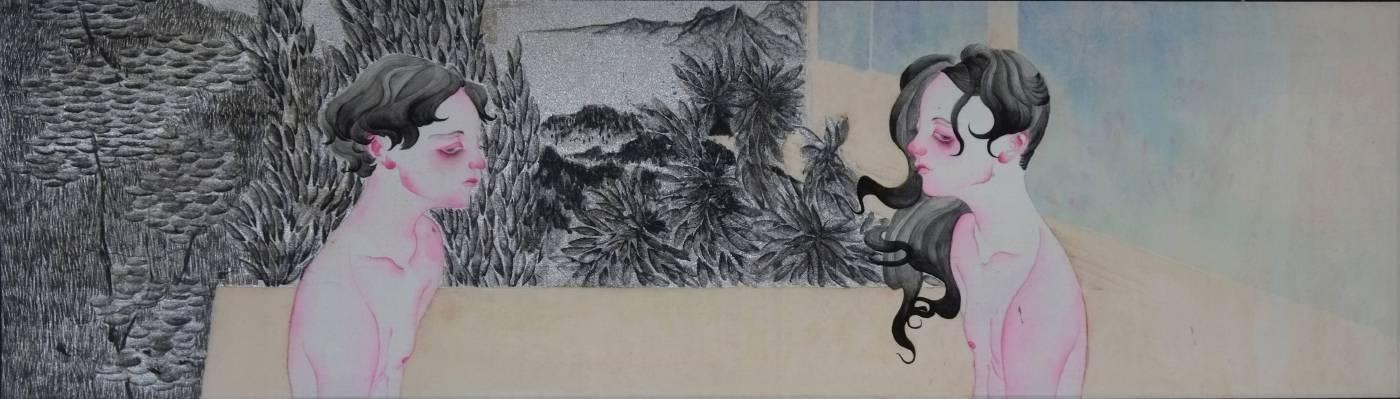 黃向藝《濡濕》,2017,絹本設色,18 × 63.5 cm