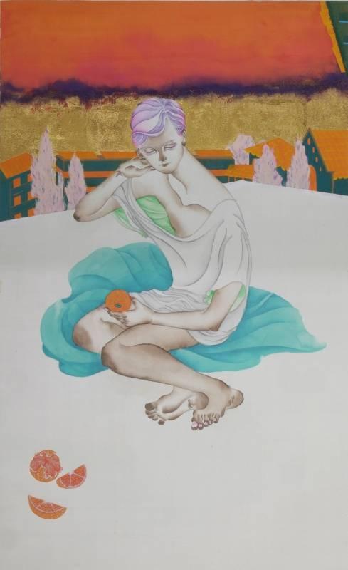 黃向藝《午睡》,2017,絹本設色,66 × 40 cm