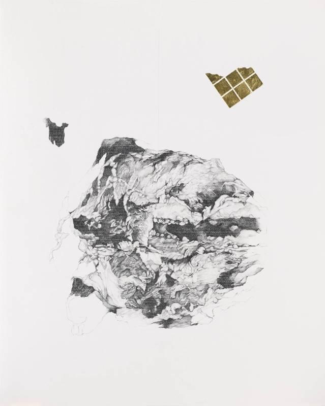 《飾品與罪 I(西洋棋)》 Ornament and Crime I (Chess)  2018 graphite and 24k gold leaf on paper 石墨、24k金箔、紙 105.1 x 81 cm