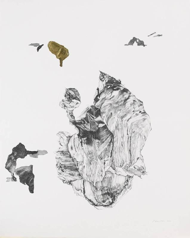 《手稿與失落的對話 II》 Sketches and Conversation Among Ruins II  2018 graphite and 24k gold leaf on paper 石墨、24k金箔、紙  99 x 79 cm