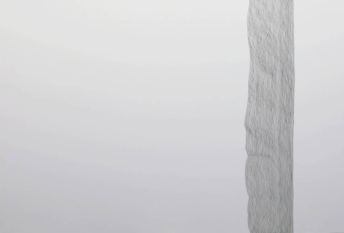 王昱翔, 慣線1, 2016年, 78x55cm, 黑色原子筆.紙