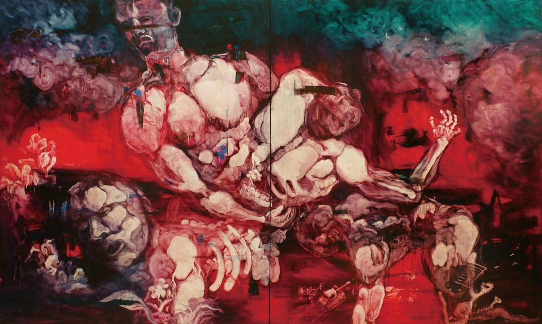 常陵|五花肉系列-肉宗教-肉世界再創記|2010|油畫|240 x 400 cm