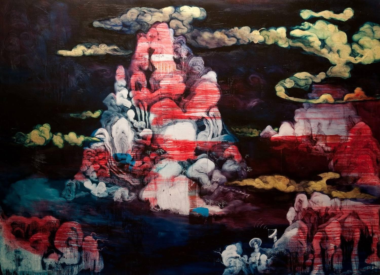 常陵|五花肉系列-肉宗教-祕境仙島|2009|油彩|200 x 145 cm