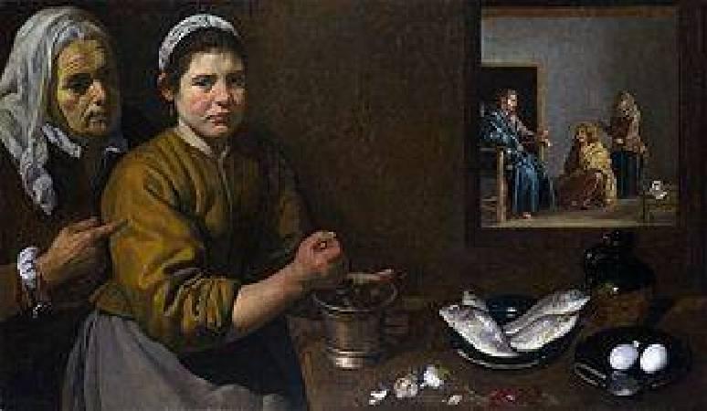 《屋裡馬大和瑪利亞跟基督在廚房的一景》, Diego Velázquez ,https://en.wikipedia.org/wiki/Christ_in_the_House_of_Martha_and_Mary_(Vel%C3%A1zquez)