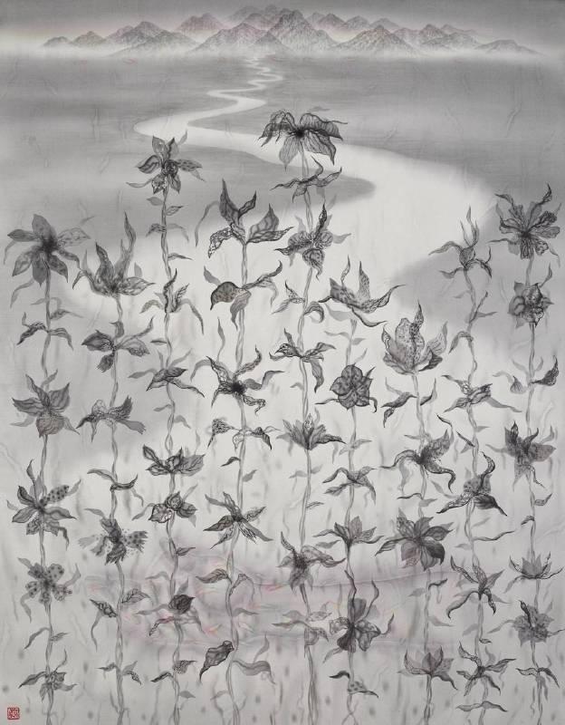 劉信義 Liu Hsin Yi ,疏離的我們都該遙望那遠方的寧靜 We Must Look far away from the Distant Tranquility , 水墨絹本設色 Colored Ink on Silk ,92x72 cm ,2018