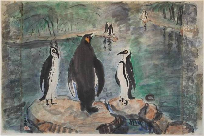 潘玉良,《Penguins; Together with a nude》,1942。圖/取自wikimedia