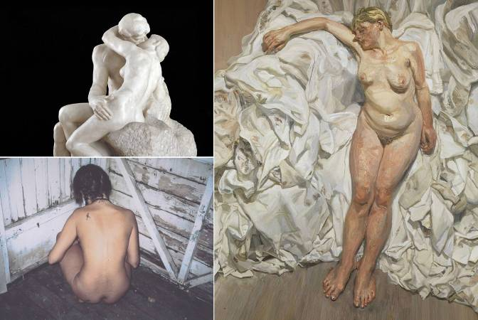 左上至右:羅丹,吻(局部),1901-04年;翠西‧艾敏,我最後對你說的是別把我留在這裡II,2000年;盧西安‧佛洛伊德,站在布堆旁,1988-89年。圖/高雄市立美術館提供