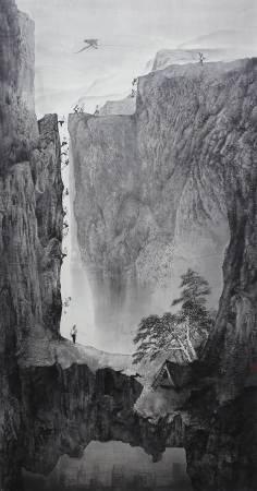 徐嘉霠Hsu, Jia Yin - 翔 ( 2015  水墨 宣紙  180x100cm ) ( 心動藝術空間 Art Influence )