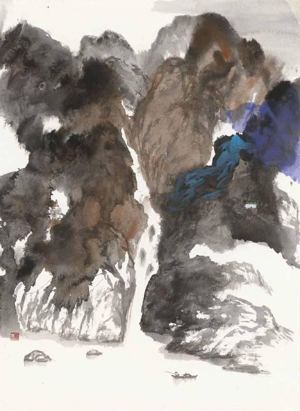 塵三 Chen San ,向流 Streaming ,水墨設色 Colored Ink on paper,77x55 cm4.7才, 2017