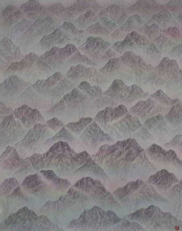 劉信義 Liu Hsin Yi ,群山孤寂   Lonely Mountains ,水墨絹本設色Colored ink on silk,36x45 cm  , 2018
