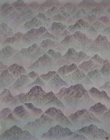 劉信義 Liu Hsin Yi ,群山孤寂   Lonely Mountains ,水墨絹本設色	Colored ink on silk	,36x45 cm  , 2018