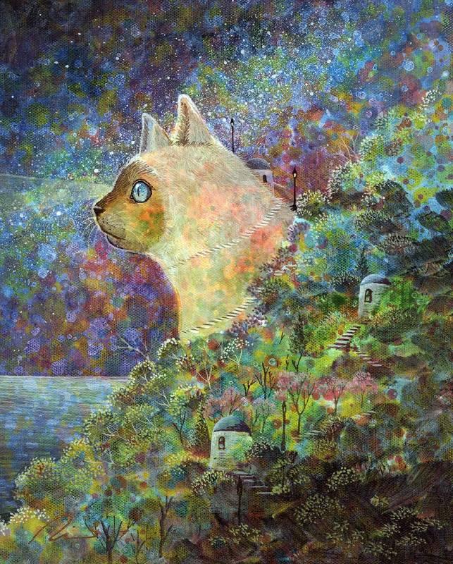 海至│貓眼燈塔│壓克力顏料、油畫布│27x22 cm│2018