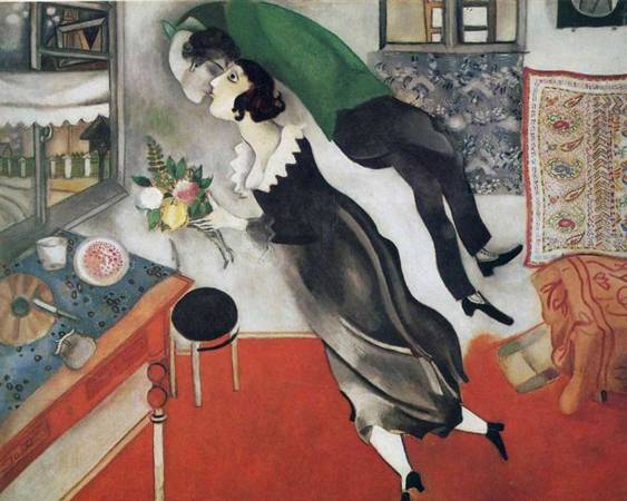 Marc Chagall,《Birthday》,1915。圖/取自 wikiart。