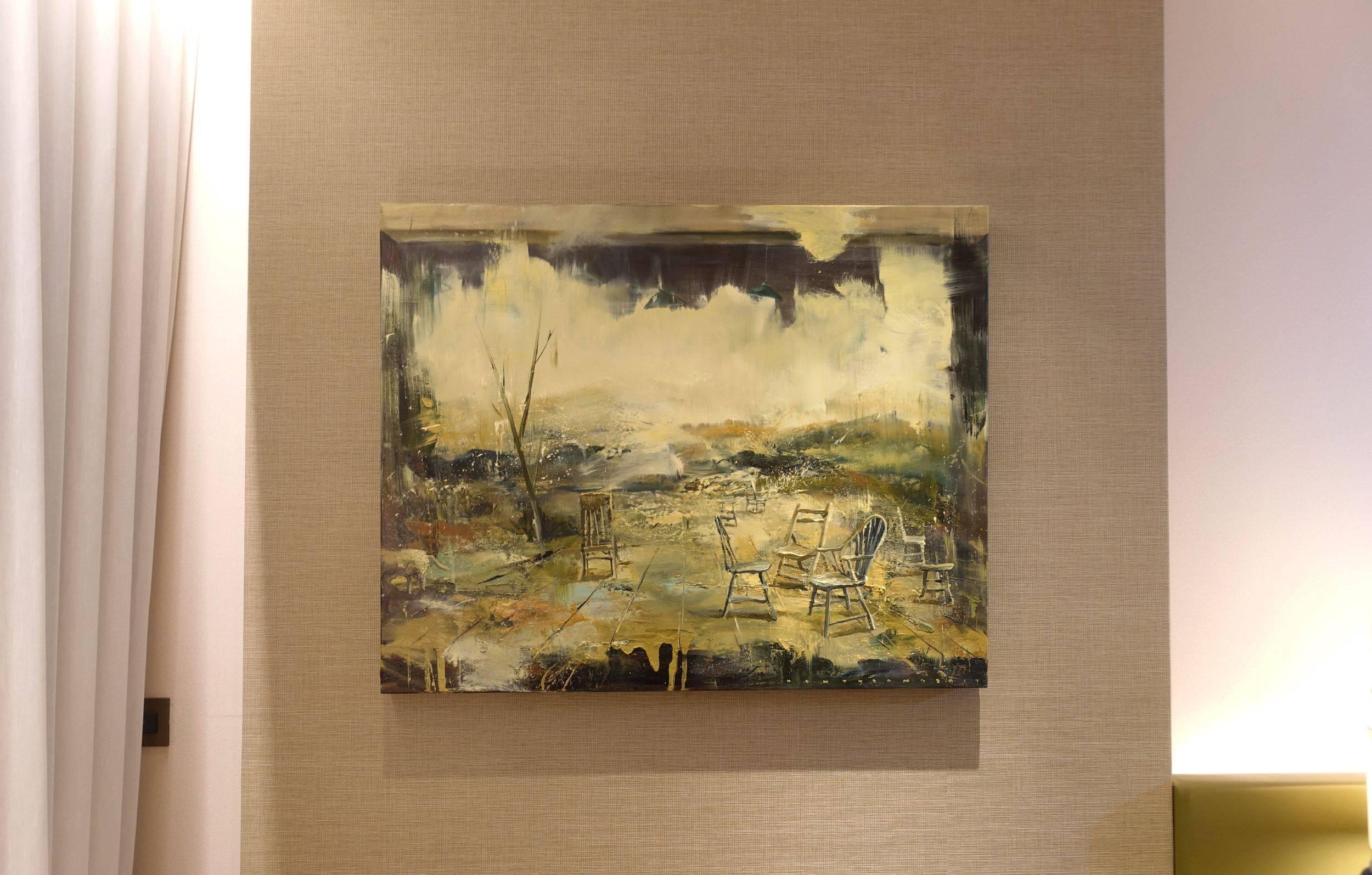 台中美丘美术展間,藝術家陳傑強作品。