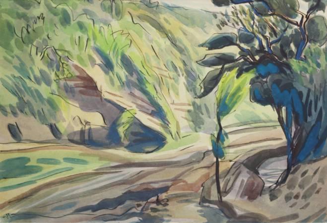 蕭如松, 上坡, 1957年, 41x27cm(6P), 水彩紙本