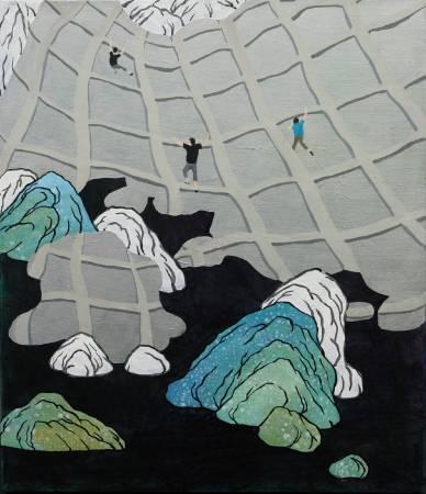 登山-3, 2017年, 53×45.5cm, 壓克力顏料.墨.水泥漆.畫布