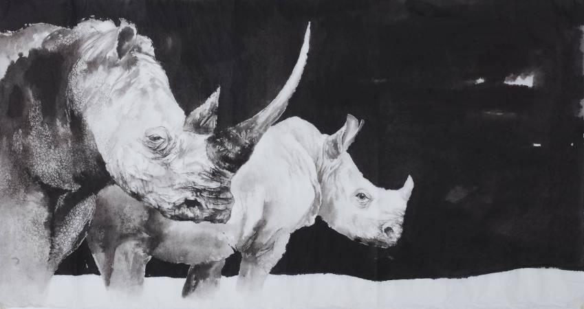 劉默霖, 心有靈犀, 2016年, 120x60cm, 水墨.棉紙