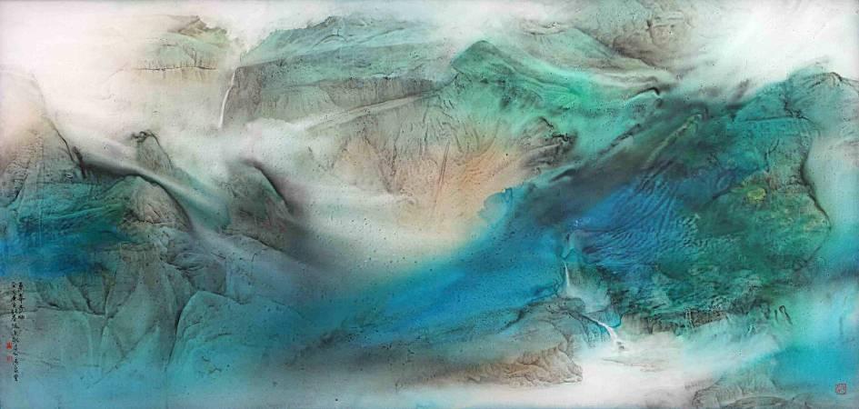 張進勇 《雲峯奇出》 2010 112×233公分(29才) 彩墨