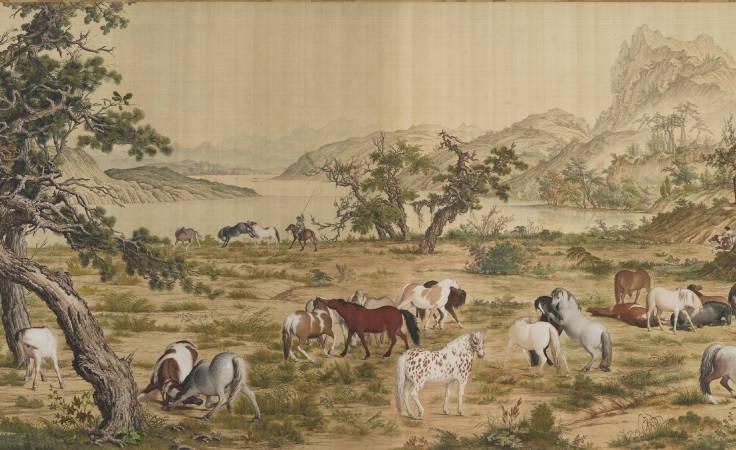 郎世寧,《百駿圖》(局部三),卷,絹本設色,94.5x776cm。圖/故宮博物院。