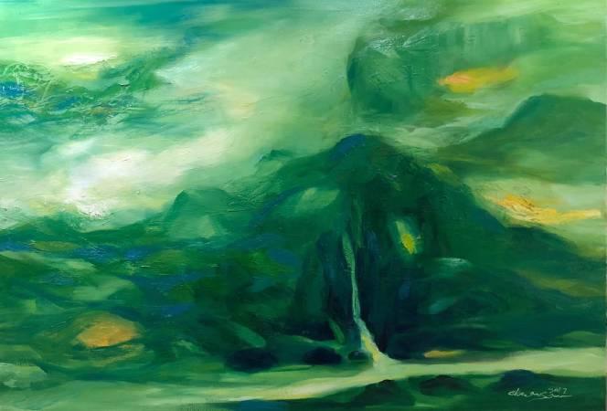 塵三 Chen San / 平川 Quiet River油畫Oil on canvas89.5x130 cm2016