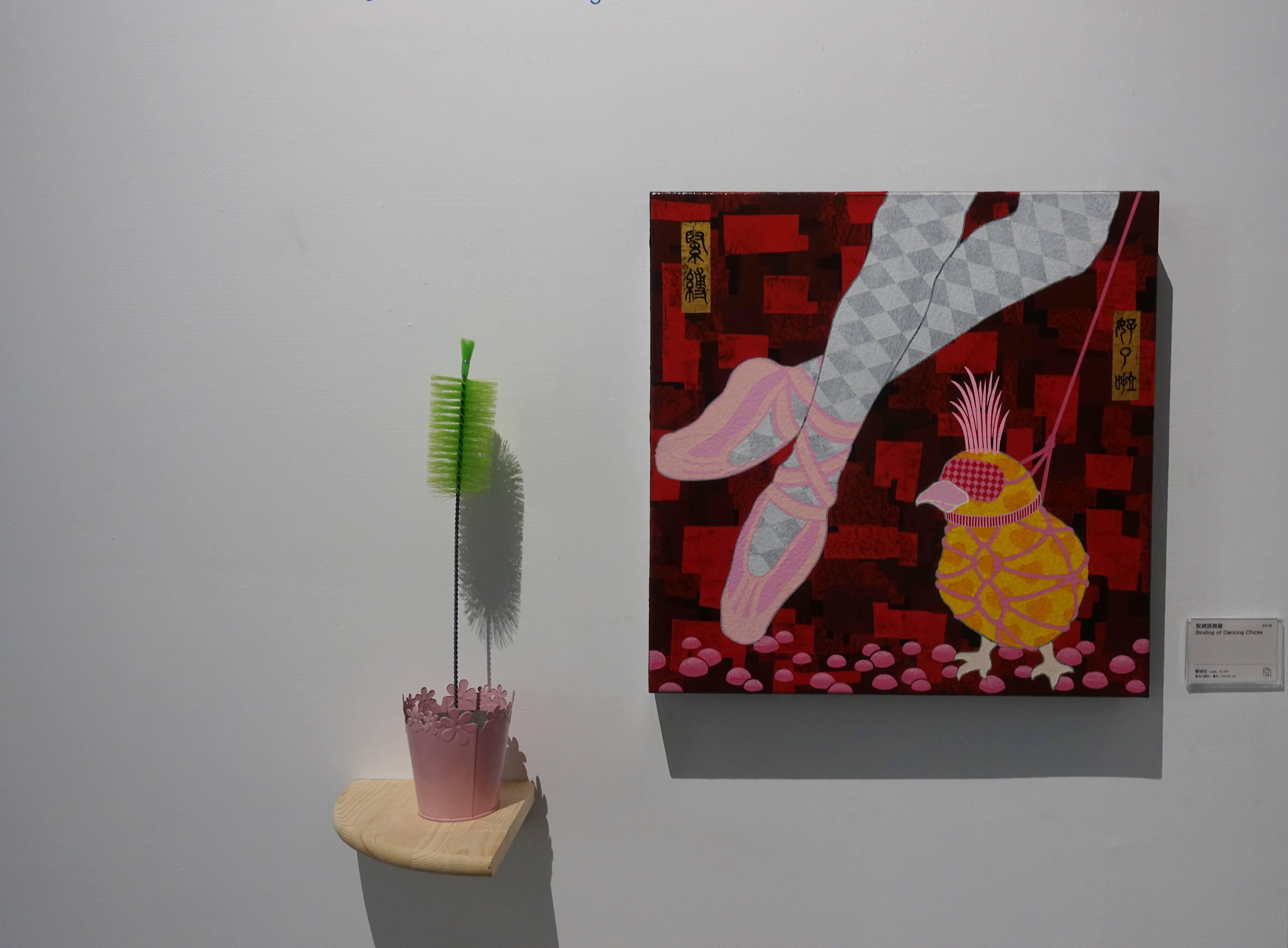 廖堉安,《緊縛跳舞雞Binding of Dancing Chicken》,壓克力、畫布,50x50 cm,2018。