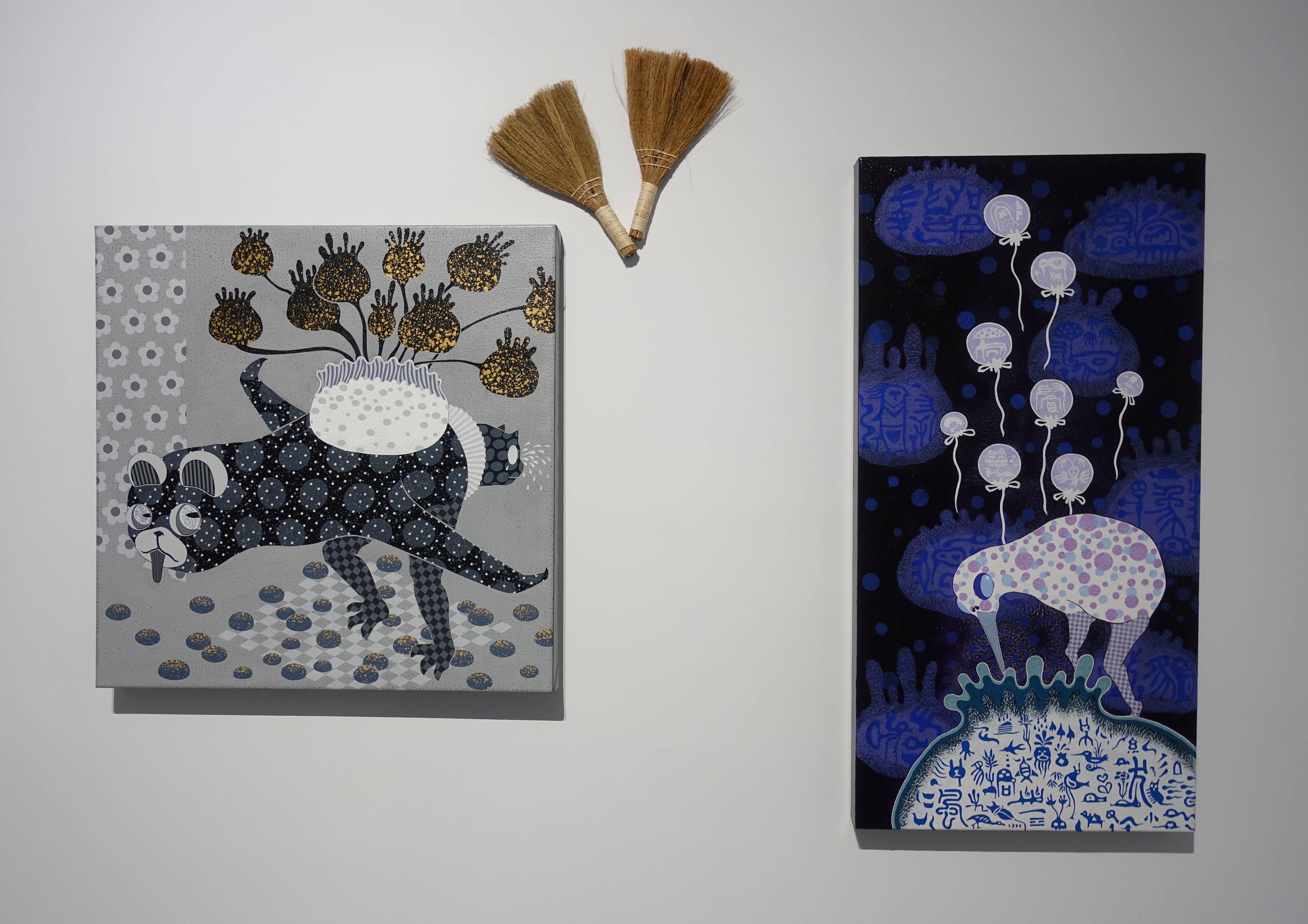 廖堉安,《內省計畫The Plan of Introspection》,壓克力、畫布,70x70 cm,2017(左)。廖堉安,《夢想氣球Dream Balloon》,壓克力、畫布,100x50 cm,2017(右)。