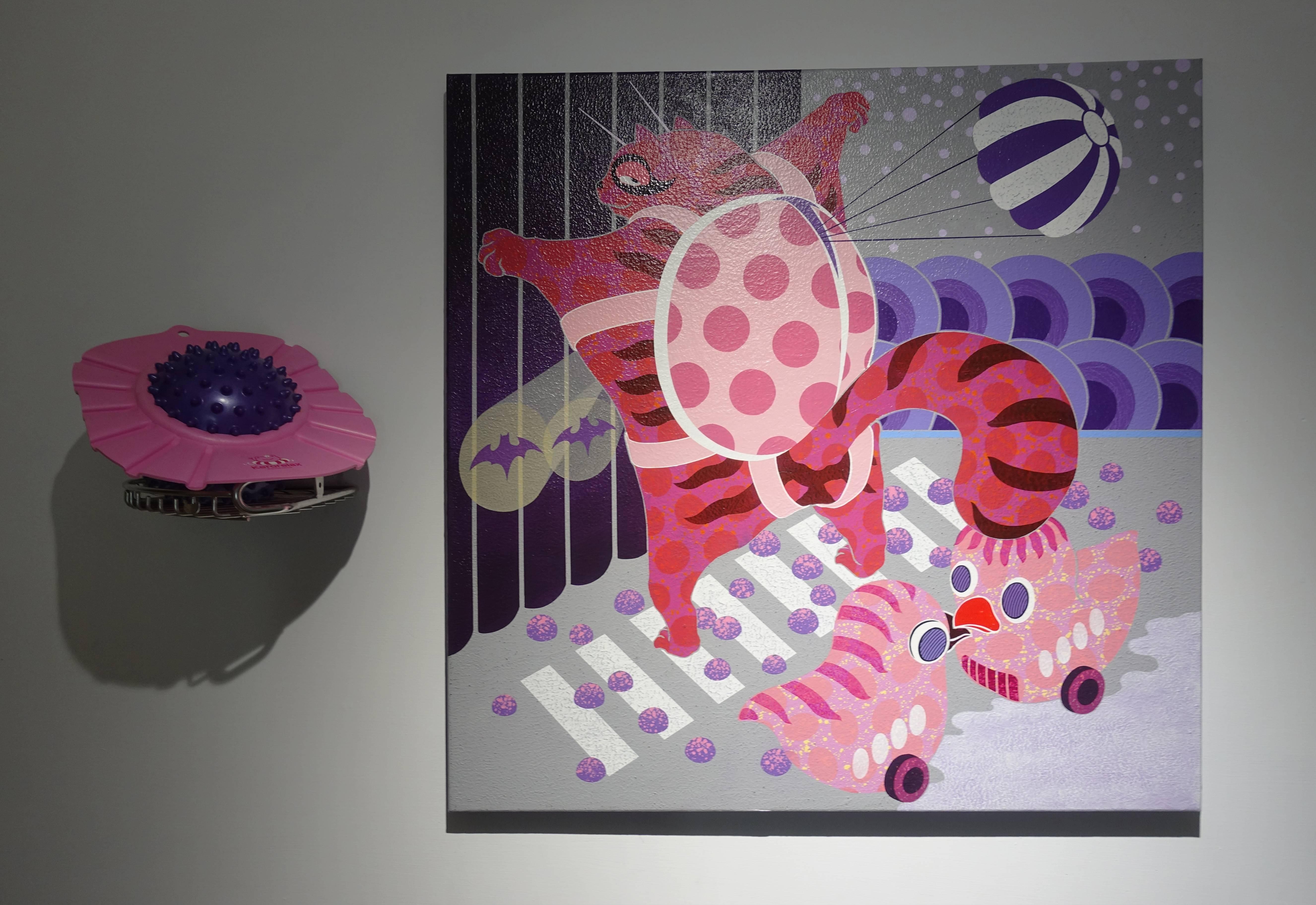 廖堉安,《甜蜜的包袱Sweet Burden》,壓克力、畫布,80x80 cm,2018。