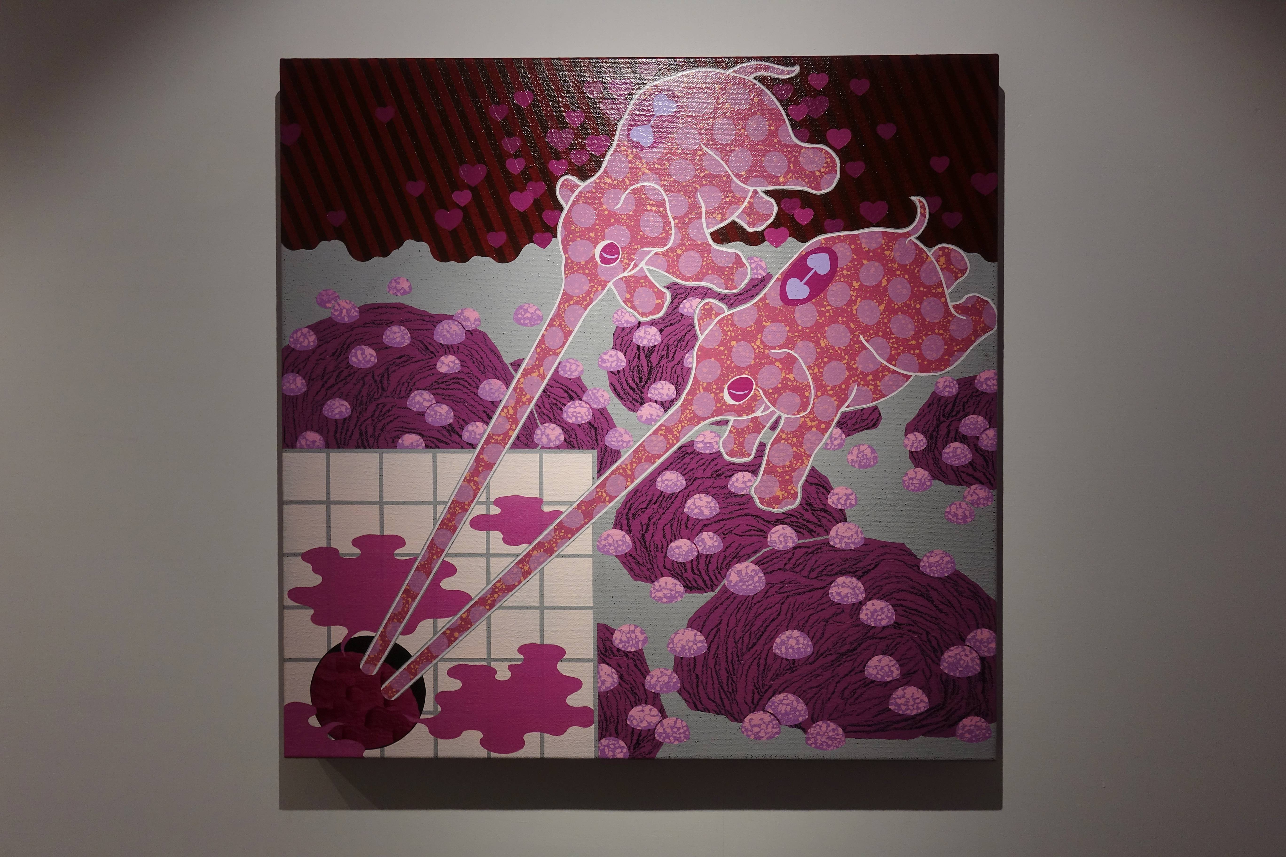 堉安,《惺惺相吸Freemasonry》,壓克力、畫布,80x80 cm,2018(右)。